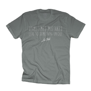 "Les Paul ""Sometimes Mistakes Lead To..."" Gray Taupe Tee"