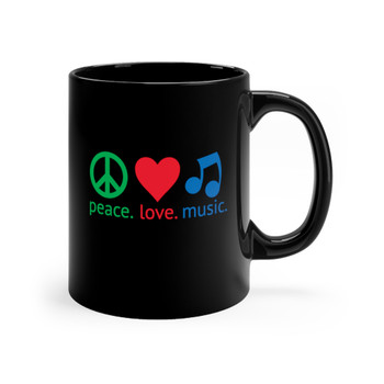 "Black 11oz. ""Peace.Love.Music."" Mug"
