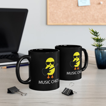 "Black 11oz. ""Music Chick"" Ceramic Mug"