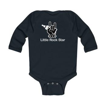 """Infant """"Little Rock Star"""" Long Sleeve Rib Bodysuit"""