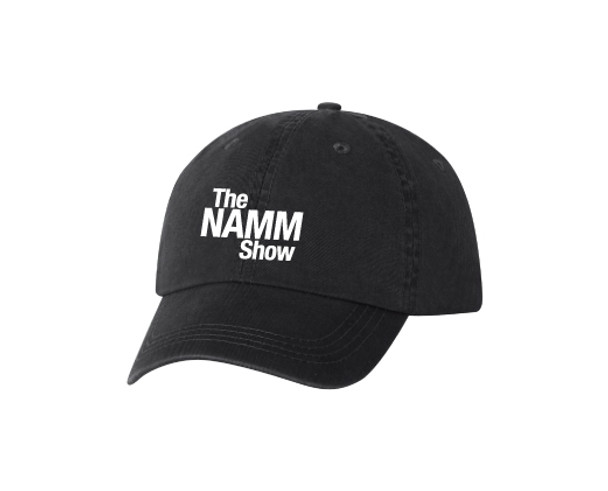 Black Cotton Washed Twill 6-Panel Low-Profile Hat