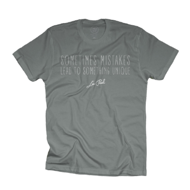 """Les Paul """"Sometimes Mistakes Lead To..."""" Gray Taupe Tee"""