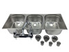 4 basin sink with faucets, drains and drain traps