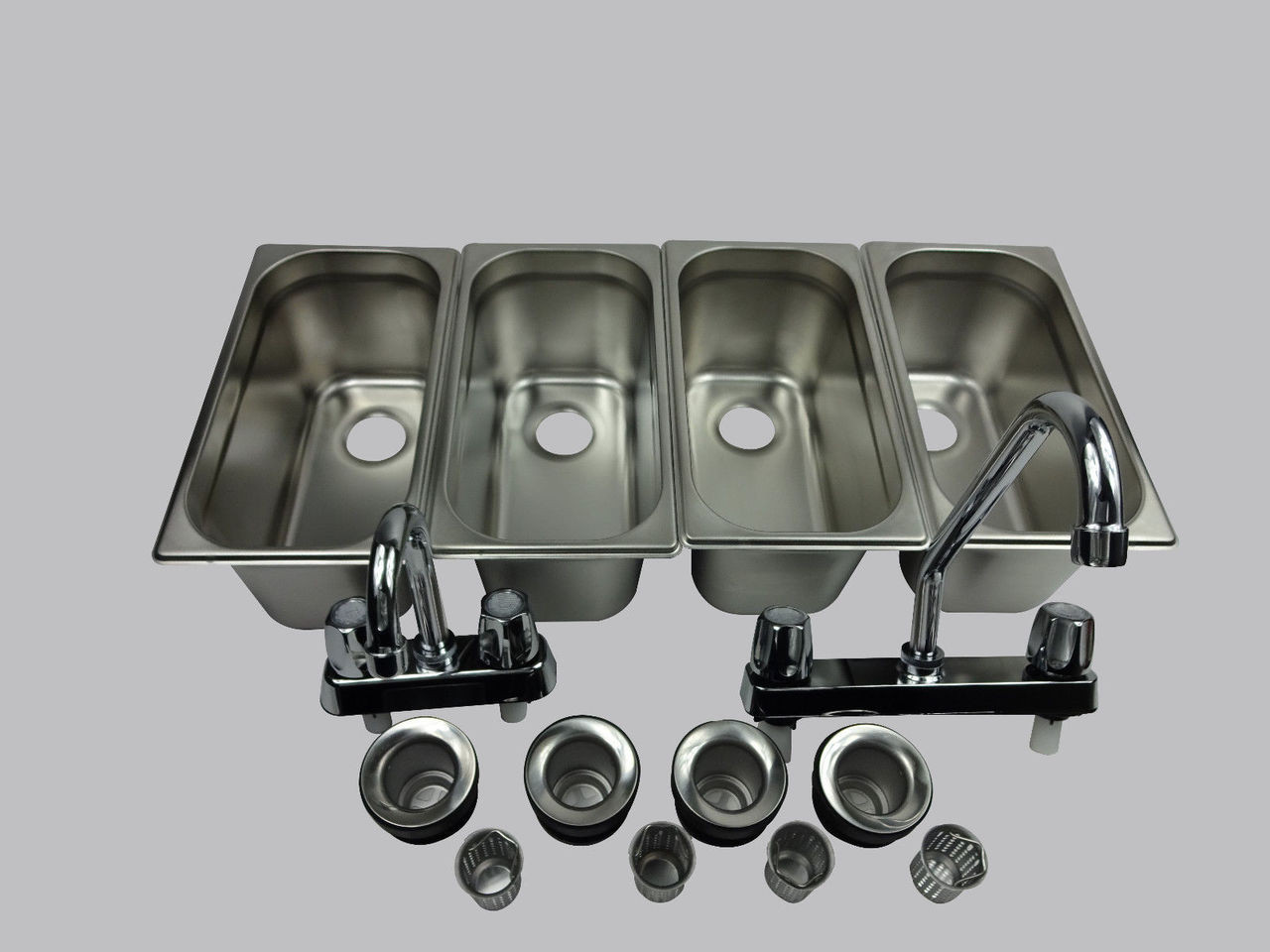 Standard 4 Compartment Concession Sink Set & Hand Washing  inner view