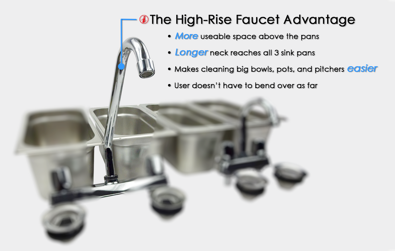 Standard 4 Compartment Concession Sink Set & Hand Washing  right angled