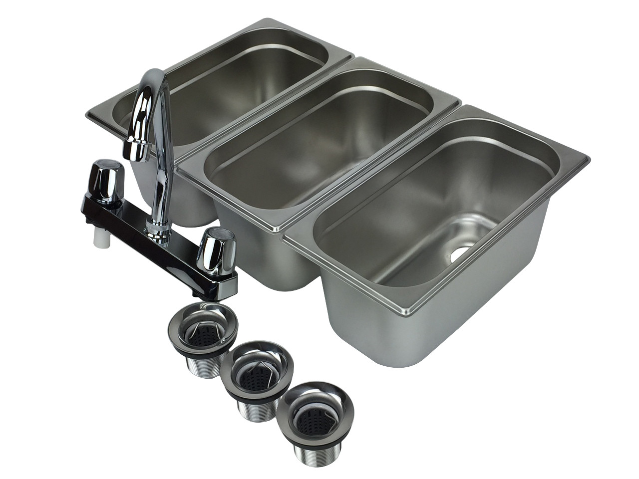4 basin sink with faucets inner view