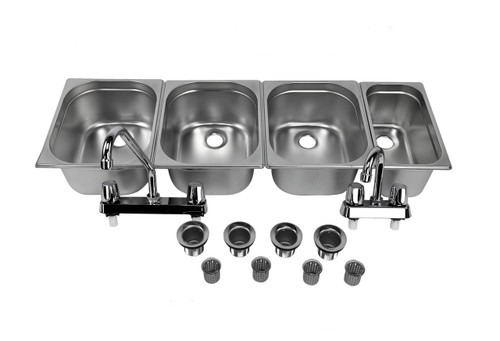 Concession Sink 4 Compartment Portable Food Truck Trailer 3L+1S Handwash Faucets