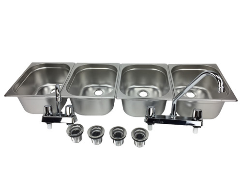 4 basin sink with faucets and drains