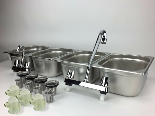 4 Large Compartment Concession Sink Portable 4 Traps Hand Washing Food Truck Trailer