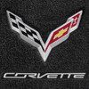 C7 Corvette Stingray Lloyds Floor Mats Black with C7 Crossed Flag Logo & Corvette Script