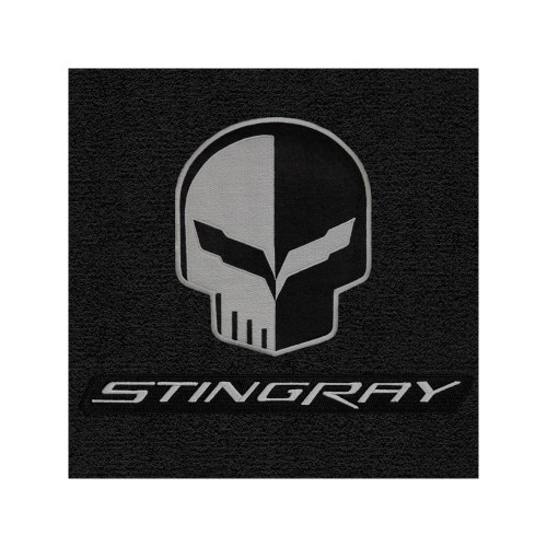 C7 Corvette Floor Mats - Lloyds Mats Jet/Black with Jake Skull Logo & Stingray Script