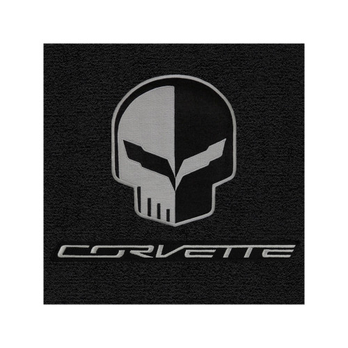 C7 Corvette Floor Mats - Lloyds Mats Jet/Black with Jake Skull Logo & Corvette Script
