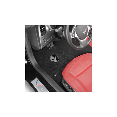 C7 Corvette Floor Mats - Lloyds Mats Jet/Black with Jake Skull Logo