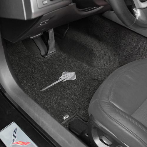 C7 Corvette Stingray Floor Mats - Jet/Black Lloyds Mats with Stingray Logo