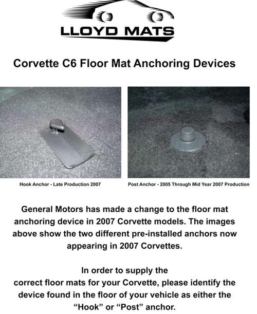 C6 CORVETTE FLOOR MATS WITH C6 EMBLEM-POST MOUNT 2005-2007.5
