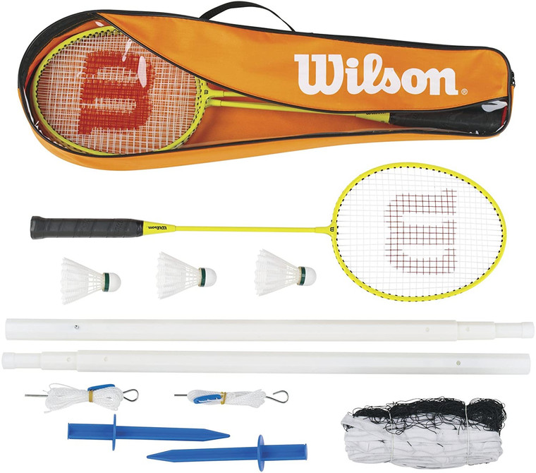 Wilson 4 Player Badminton Set Including 4 Rackets, Net/Posts And Shuttles