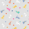 Spring by Makower - Rabbits in Grey Quilting Cotton Fabric