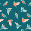 Rivelin Valley by Dashwood - Kingfisher in Teal Quilting Cotton Fabric