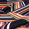 Block Stripe Javanaise Viscose in Navy Dressmaking Fabric