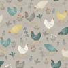 Clara by Makower - Chickens in Grey