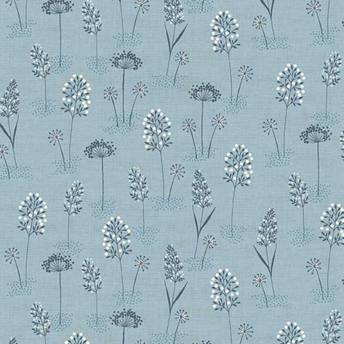 Woodland Grasses Cotton in Blue