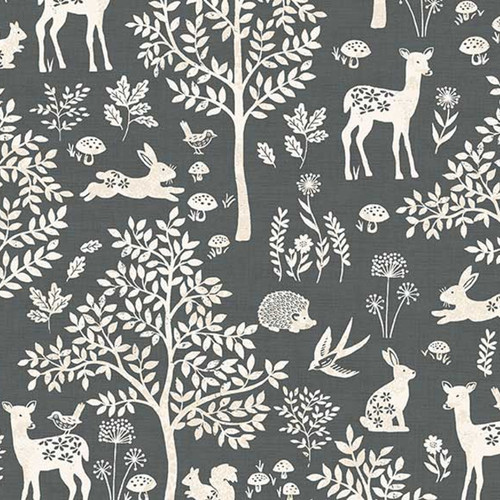 Woodland Forest Cotton in Grey