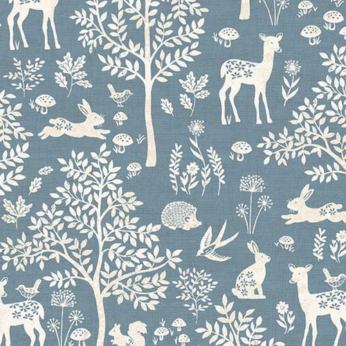 Woodland Forest Cotton in Blue