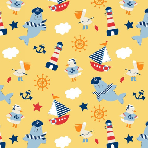 Ahoy Matey Characters Cotton in Yellow