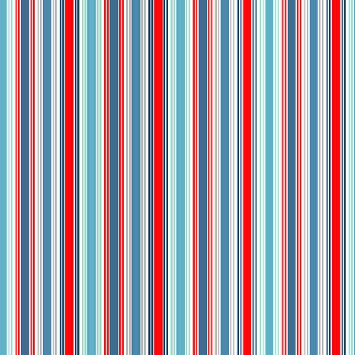 Makower Sea Breeze - Deckchair Stripe Cotton in Blue