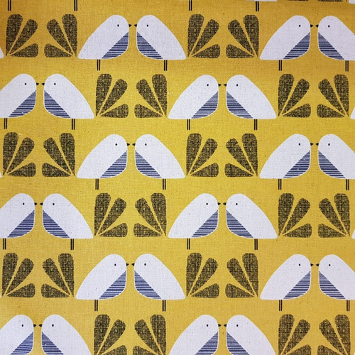 Dashwood Nest - Birds Linen in Mustard