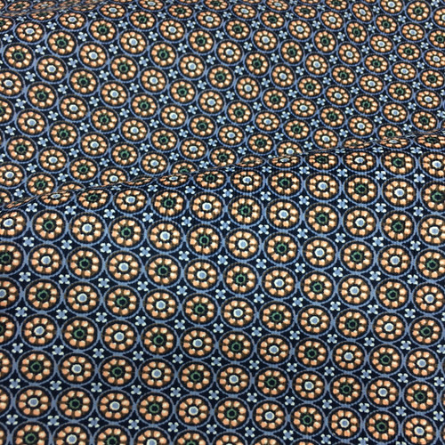 Tile Print Corduroy in Navy