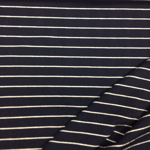 Simple Stripe Stretch Polyester in Navy
