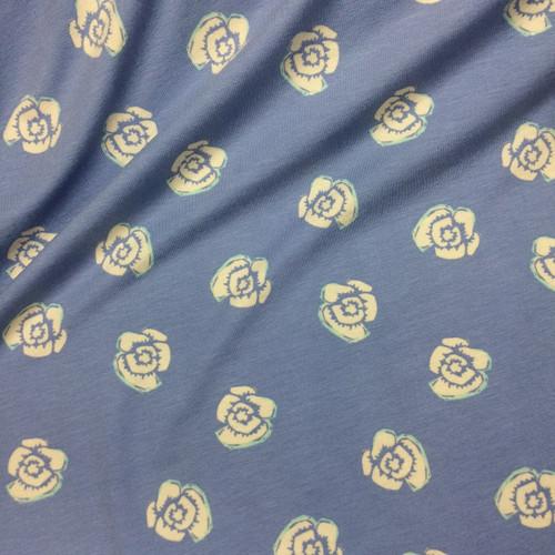 Rosy Posy Viscose Jersey in Sky Blue