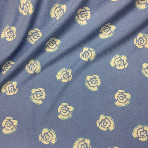 Rosy Posy Viscose Jersey in Sky Blue