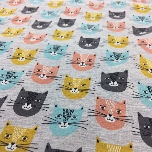 Kitty Cat Sweat-shirting in Grey