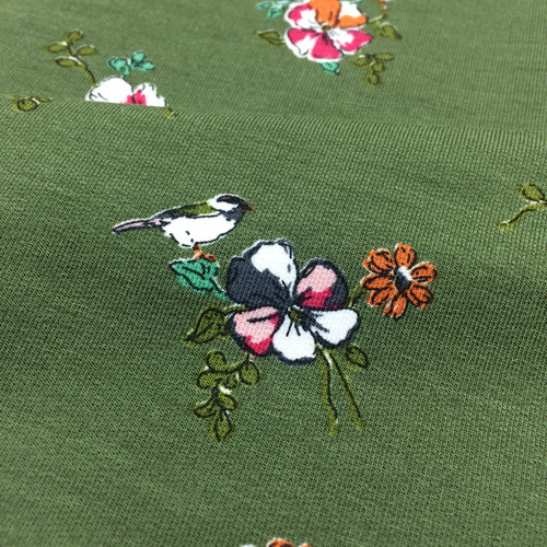 Floral Romance Modal Jersey in Green