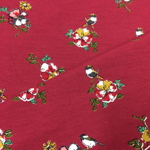 Floral Romance Modal Jersey in Deep Red