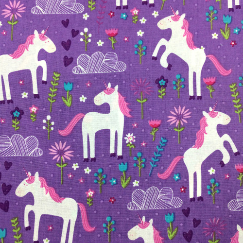 Leaping Unicorns Cotton in Purple