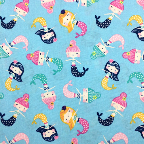 Merry Mermaids Cotton in Blue