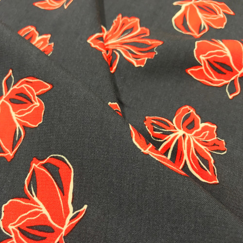 Bright Blooms Viscose in Navy