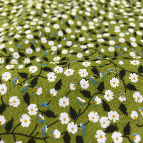 Fine Floral Cotton Lawn in Green