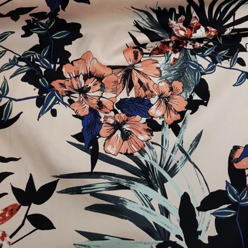 pink botanical floral cotton fabric