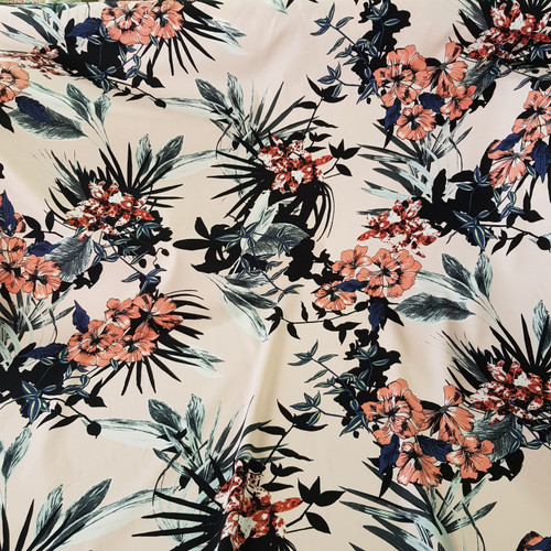 pink botanical floral cotton fabric