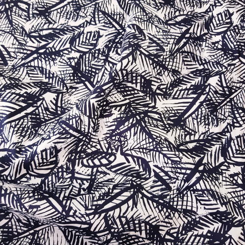 navy botanical leaf print fabric