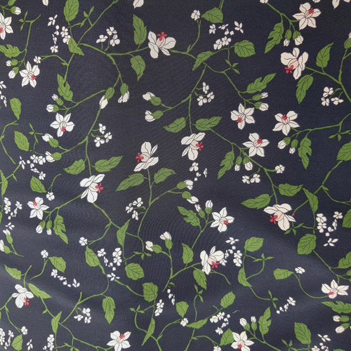 Black floral polyester crepe fabric