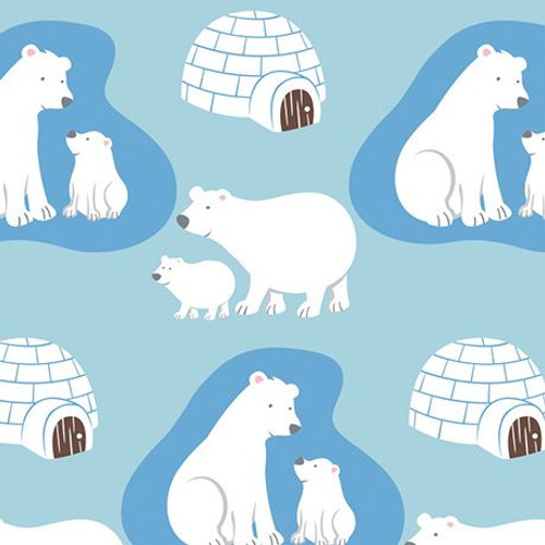 Polar bear cotton flannel fabric