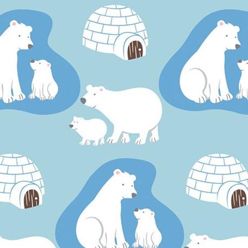Polar bear cotton flannel fabric