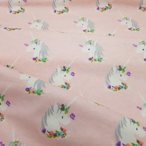 Pink unicorn cotton flannel fabric