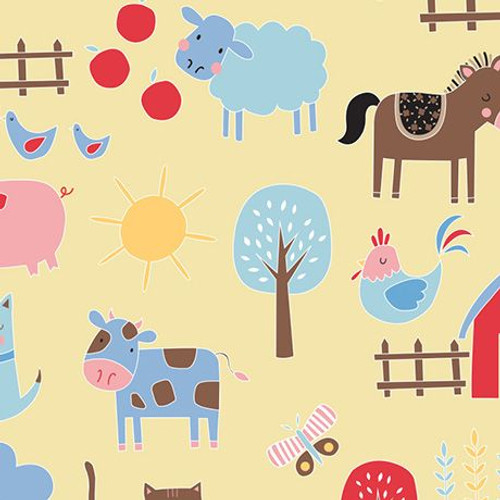 farm animal cotton flannel