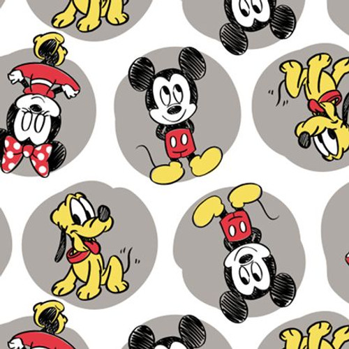 Mickey mouse minnie and pluto cotton flannel fabric